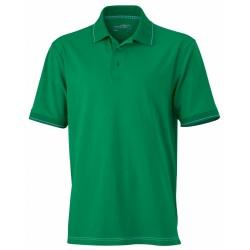 J&N Men's Elastic Polo galléros póló, zöld XL