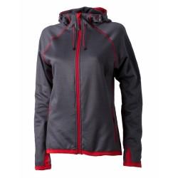 J&N Hooded Fleece női kapucnis pulóver, piros S