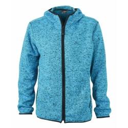 J&N Men's Knitted Fleece Hoody, kék L