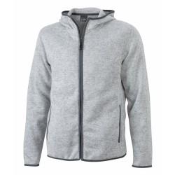 J&N Men's Knitted Fleece Hoody, szürke M