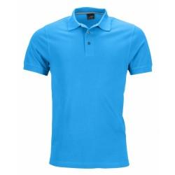 J&N Pima galléros piké póló, kék 3XL