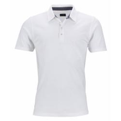 J&N galléros póló mintás gallérral, fehér M