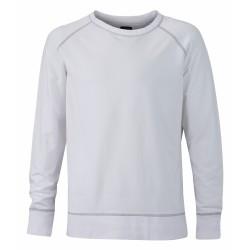 J&N Men's Casual pamut pulóver, fehér S
