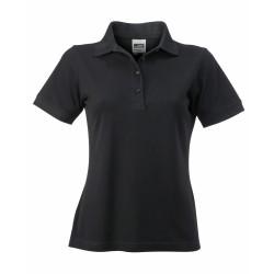 J&N Ladies' Workwear női galléros póló, fekete M