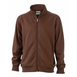 J&N Workwear cipzáras pulóver, barna XXL