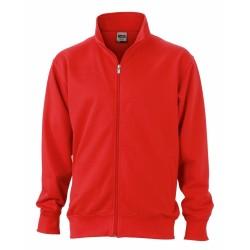 J&N Workwear cipzáras pulóver, piros XXL