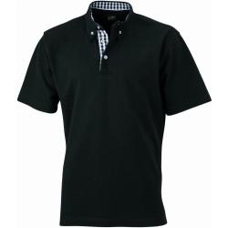 J&N Men's Plain Polo galléros póló, fekete 3XL