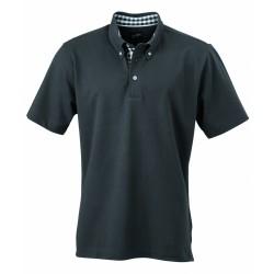 J&N Men's Plain Polo galléros póló, szürke S