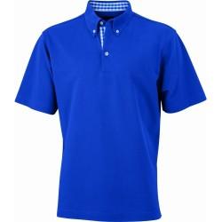 J&N Men's Plain Polo galléros póló, kék XXL