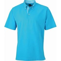 J&N Men's Plain Polo galléros póló, kék S