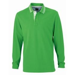 J&N Lifestyle hosszú ujjú galléros póló, zöld M