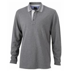 J&N Lifestyle hosszú ujjú galléros póló, szürke S