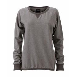 J&N Ladies' Basic Sweat pamut pulóver, szürke M